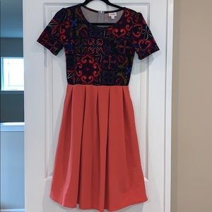 LuLaRoe Amelia Geometric Top & Coral Skirt